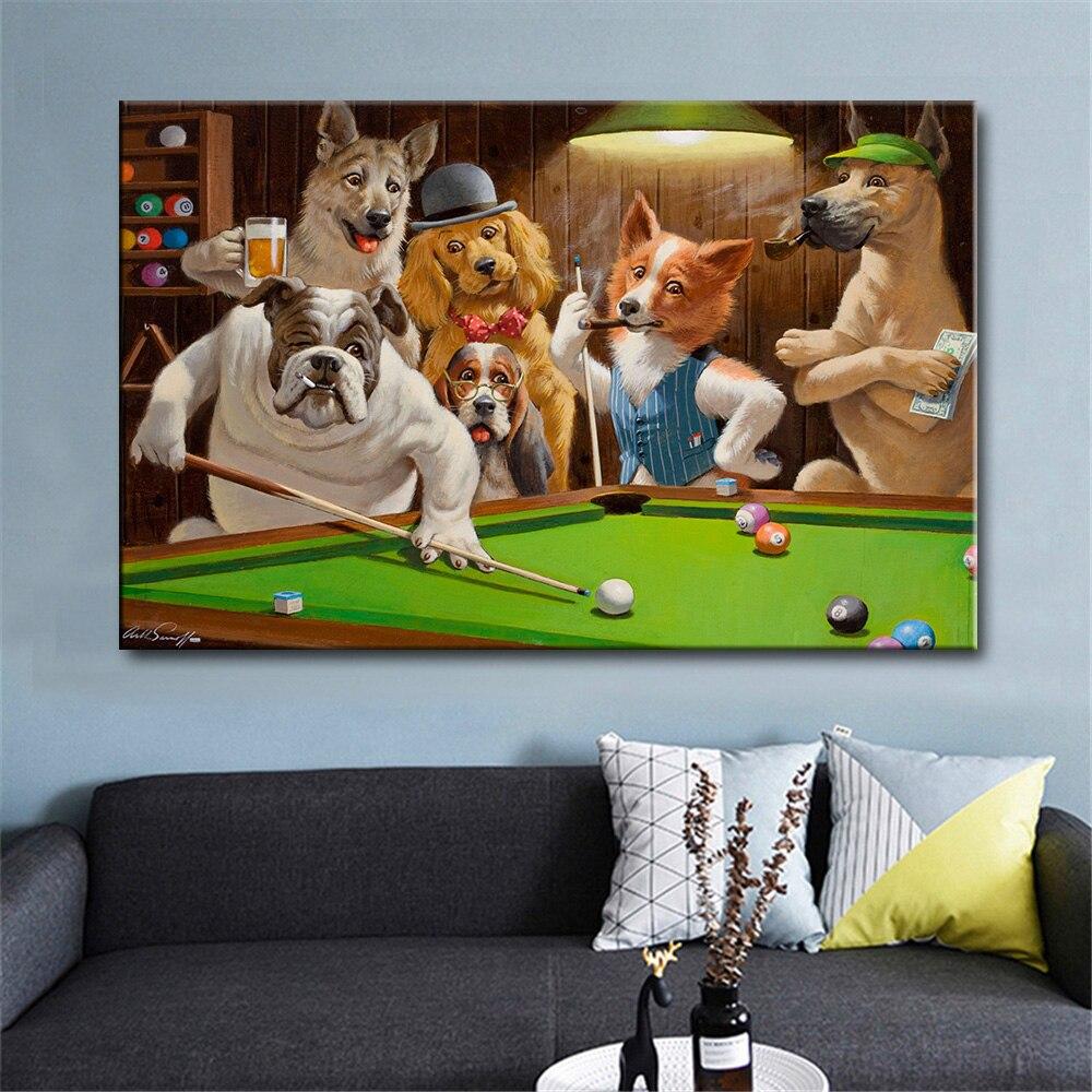 Купить современные hd холст печать животных собаки играть бильярд бог