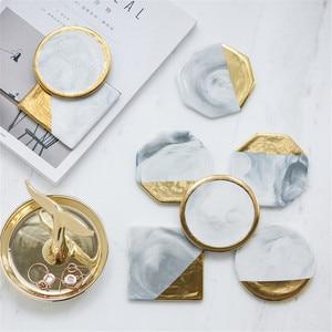 Роскошный Мраморный керамический подстаканник с золотым покрытием, геометрический подстаканник, водонепроницаемые теплоизоляционные под...