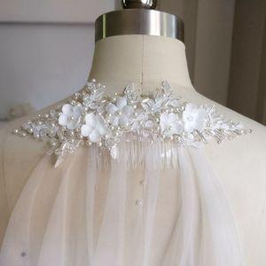 Image 5 - Pente branco com borda cortada 2m, véu de noiva longo com pérolas brancas para casamento véu