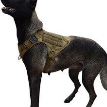 Тактическая шлейка mxslтело для собак с 2 металлическими пряжками, Жилет MOLLE для работы собак с ручкой, зажим для переднего поводка без вытягив...