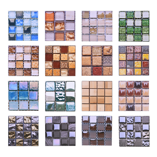 10pcs 10*10CM Mosaic Waterproof Wall Stickers Simulation Tiles Self Adhesive Wall Stickers DIY Home Bathroom Kitchen Decorations 2