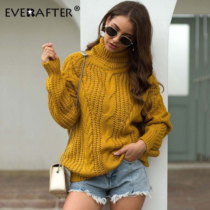 EVERAFTER Turtleneck Solid Knitted Sweater Women Pullover Striped Loose Autumn Winter 2019 Lady Thick Sweater Casual Pull Femme