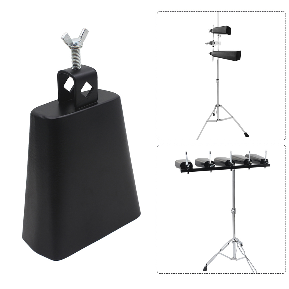 5 Inch Iron Cow-bell Percussion Instrument With Clapper For Drum Set Kit Accessory