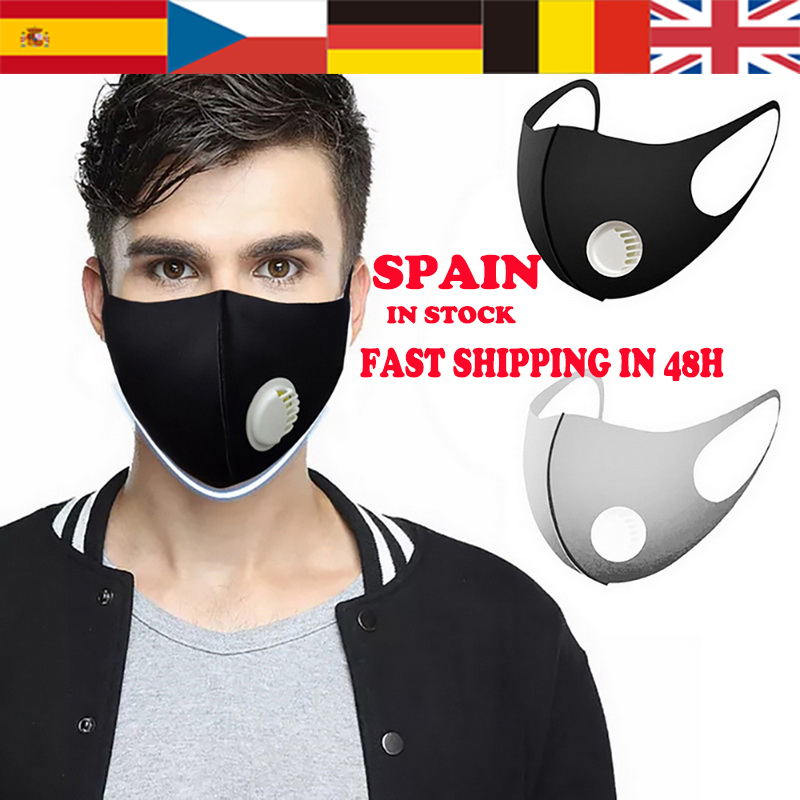 Spain Fast Shipping Fashion Mouth Mask Unisex Thicken Respiratory Mask 3D Cropped Breathable Valve Mouth Muffle Black/White