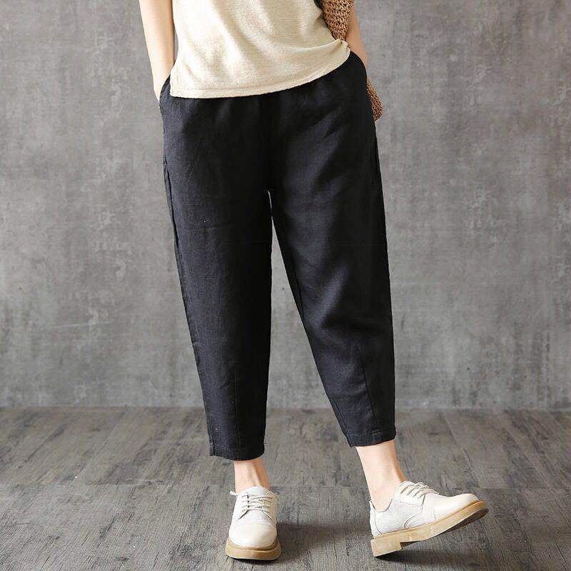 High Waist Harem Linen Pants Women 2019 Spring Autumn Plus Size Harajuku Vintage Pants Streetwear Yellow Black White Trousers
