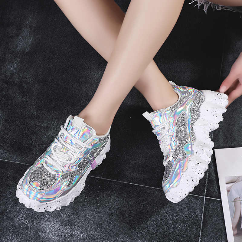 Moipheng סניקרס נשים 2020 אופנה פלטפורמת גופר נעלי בלינג לנשימה שמנמן סניקרס סגול גודל 41 Zapatillas Mujer