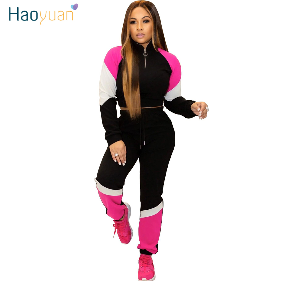 HAOYUAN Splice Plus Size Two Piece Set Tracksuit Crop Tops And Pant Matching Sets Sweat Suits Women 2 Piece Fall Winter Outfits