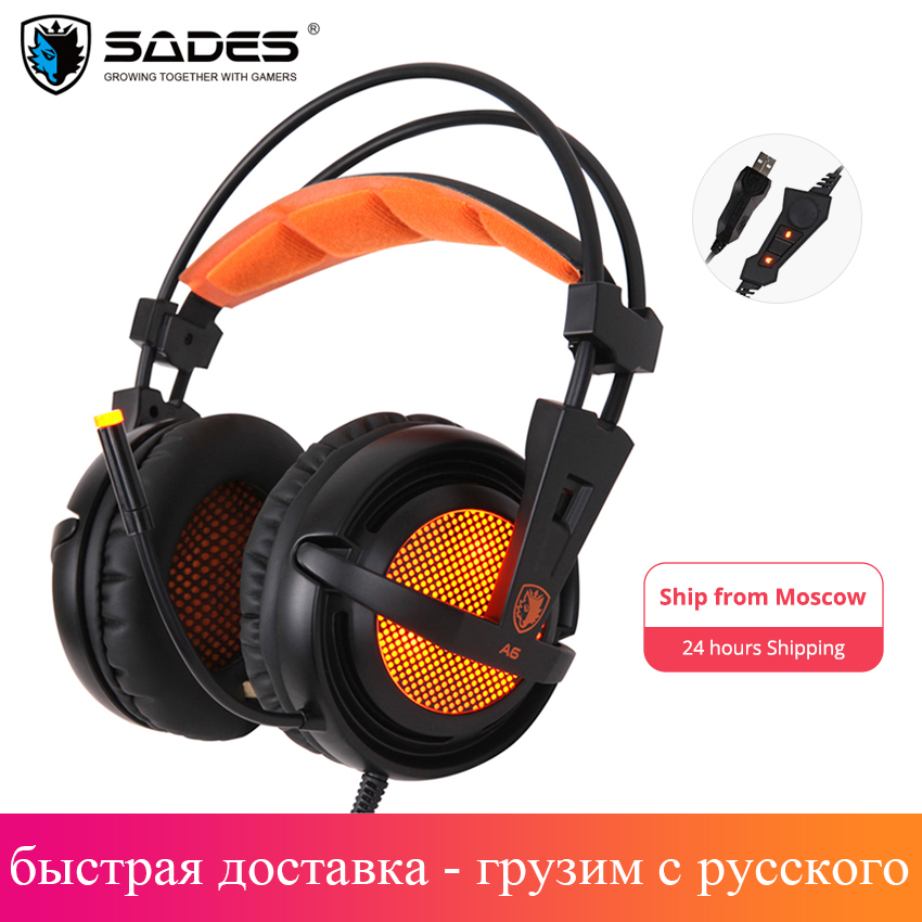 Sades A6 Gaming Headset Gamer Headphones 7 1 Surround Sound Stereo Earphones USB Microphone Breathing LED Light PC Gamer