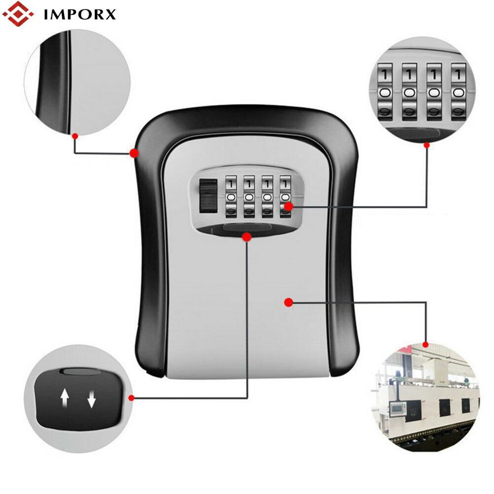 Outdoor Security storage Password Box Key Lock Box Wall Mounted Aluminum alloy Key Safe Box Weatherproof 4 Digit Combination