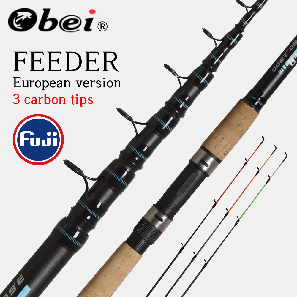 Obei alimentador vara de pesca telescópica fiação haste de viagem 3.0 3.3 3.6m vara de pesca alimentador de carpa 60-180g fuji pólo