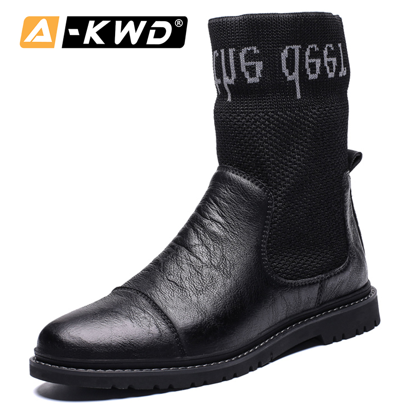 Fashion High Top Socks Shoes Men Winter Shoes Mens Work Boots Cowboy Boots Men Slip Ons Leather Sneakers Men Shoes 2020 Footwear Basic Boots Aliexpress