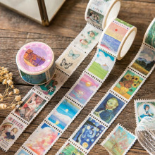 Retro Stamp Washi Tape Van Gogh Hand Account Masking Tape Cute Photo Album Diary DIY Decoration Stickers Easy To Tear Label