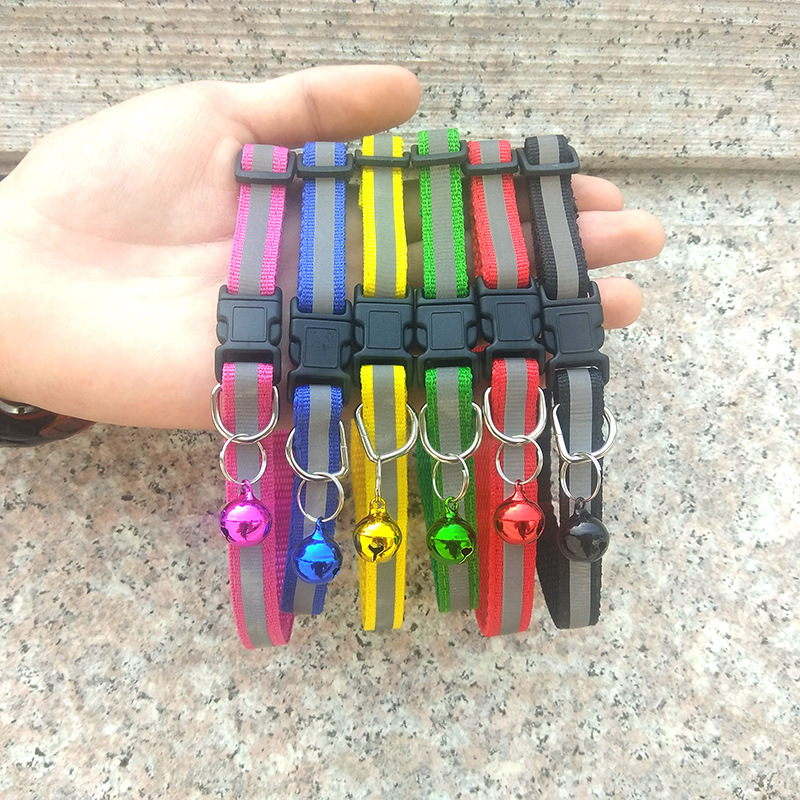 Cross Border For 1.0 Pet Black Buckle Reflective Neck Ring Dog Applique Bell Neck Ring Cat Neck Ring