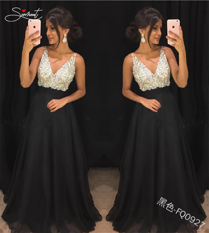 SERMENT Elegant Chiffon Sequin Evening Dress Deep V Sexy Backless Dress Suitable For Formal Banquet Ball