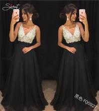 SERMENT Elegant Chiffon Sequin Evening Dress Deep V Sexy Backless Suitable for Formal Banquet Ball