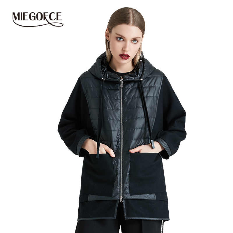 MIEGOFCE 2019 Spring Autumn Women Jacket Coat High Quality Warm Women Coat Hooded Quilted Windproof Jacket Model New Collection