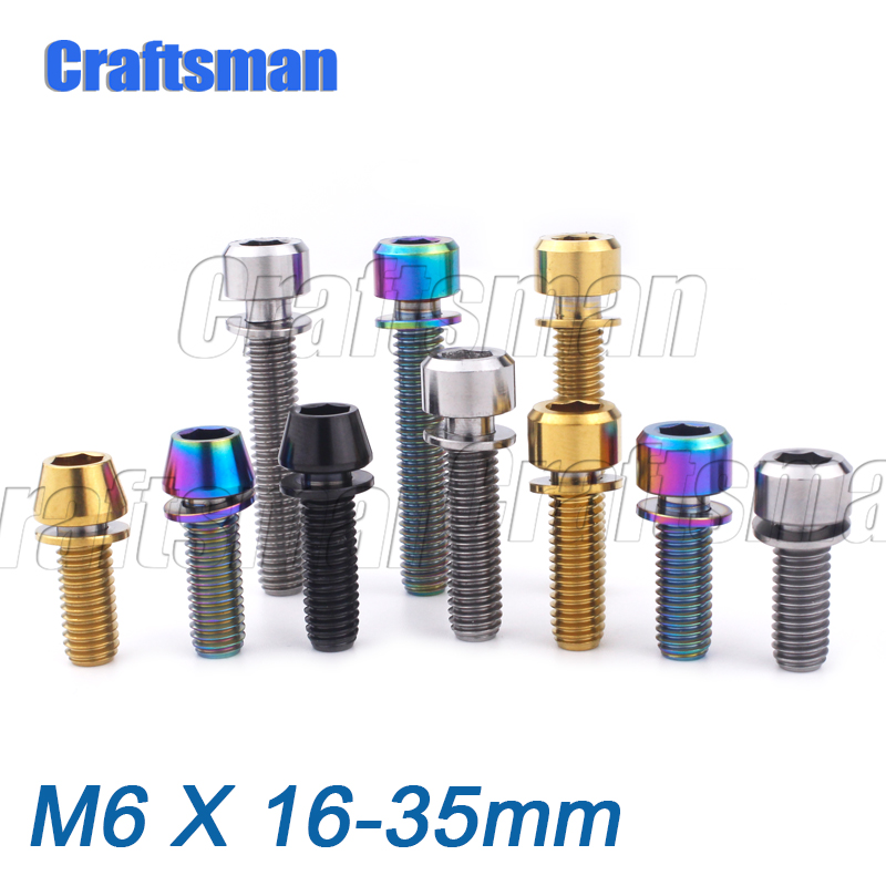 Titanium Bolt Ti M6x 16 18 20 25 35mm with Washers for Bicycle Disc Brake Stem Clamp 1pcs(China)