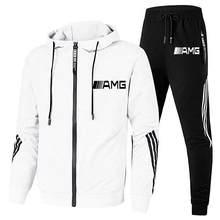 Nowy 2-odzież sportowa AMG litery męska bluza z kapturem bluza + spodnie sweter dres z kapturem garnitur dorywczo sportowe męskie ubrania