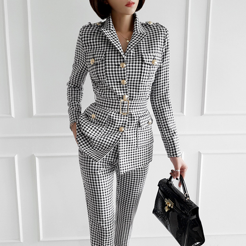 2019 Autumn Winter Business Women Two Piece Set Long-sleeved Plaid Blazer And Pant Office Lady Suits Ensemble Femme Conjunto