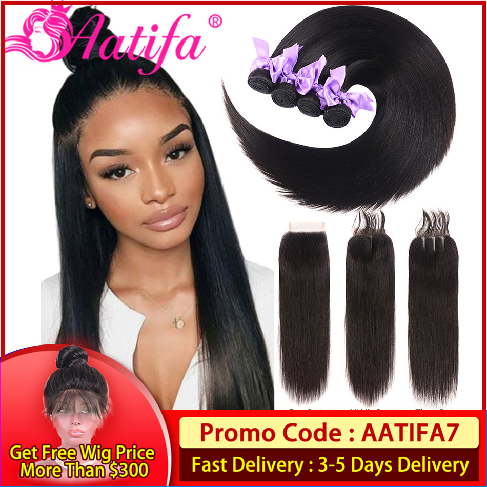 Malaysian Hair Bundles With Closure Straight Hair Bundles With Closure Remy Hair 100% Human Hair Bundles With Closure Aatifa
