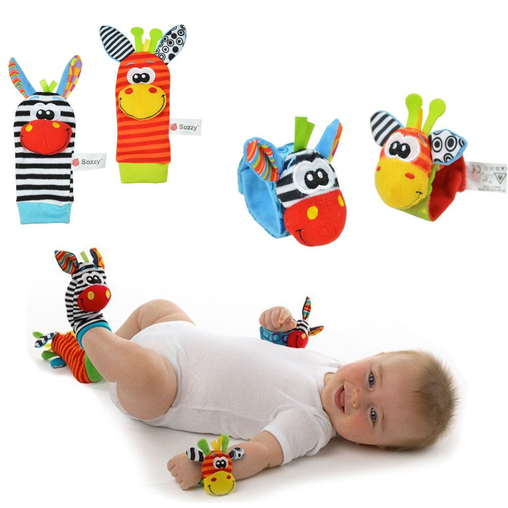 Newborn Baby Infant Boys Girls Cartoon Animal Soft Rattles Wristband Handbells Hand Foot Finders Socks Developmental Toys Gift