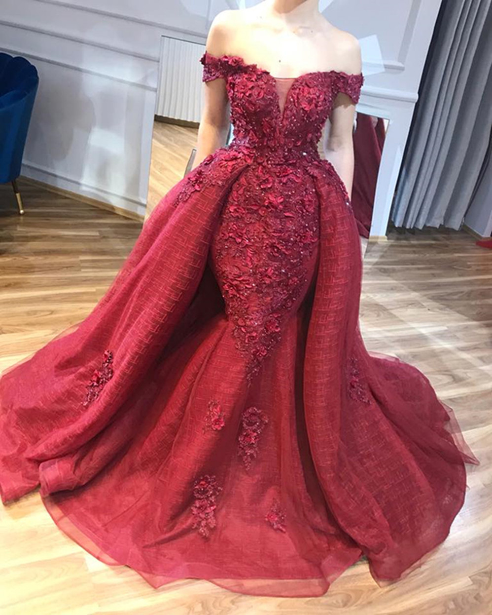 Abiye Dubai Red Lace Beaded Mermaid Evening Dresses 2020 With Detachable Train 3D Flower Prom Gowns Off Shoulder Abendkleider