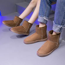 2019 New Couple Snow Boots Winter Boots Women Warm Suede Fur Boots Women Slip On Ankle Boots Ladies Plus Size Brown Black Boots gray zipper suede ankle slip on women boots