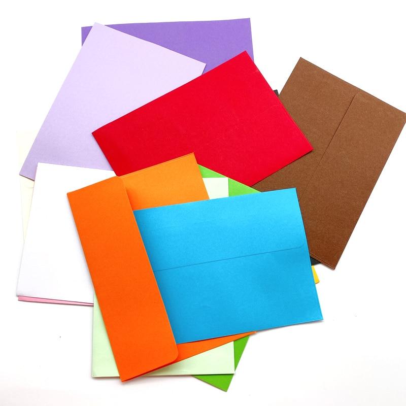 100pcs/lot Lovely Candy Color Envelope Postcard Stationery Paper  Envelope  School Office Gifts Kraft Envelopes