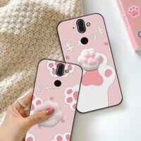 Custodia giocattolo per zampa di gatto per Nokia 6 7 8 Sirocco 9 PureView X5 X6 X7 5.1 6.1 8.1 Plus copertura antistress per dito animale