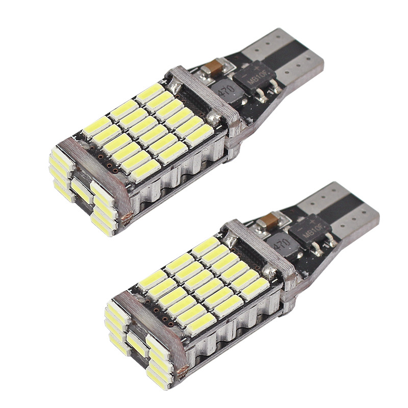 2 Pcs Universal Decoding Auto LED Taillight T15 Bulb 45SMD 6000k White Backup Reverse Brake Stop Lighting B88