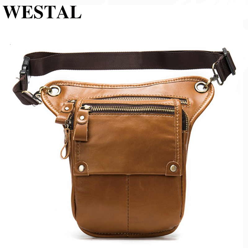 WESTAL Leg Bag Belt Men' Waist Pack Genuine Leather Men's Leather Waist/fanny Bag Waist Men Tactical/motorcycle Casual Bags 8864