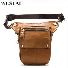 WESTAL حقيبة الساق حزام الرجال الخصر حزمة جلد أصلي للرجال جلد الخصر/فاني حقيبة الخصر الرجال التكتيكية/دراجة نارية حقائب غير رسمية 8864