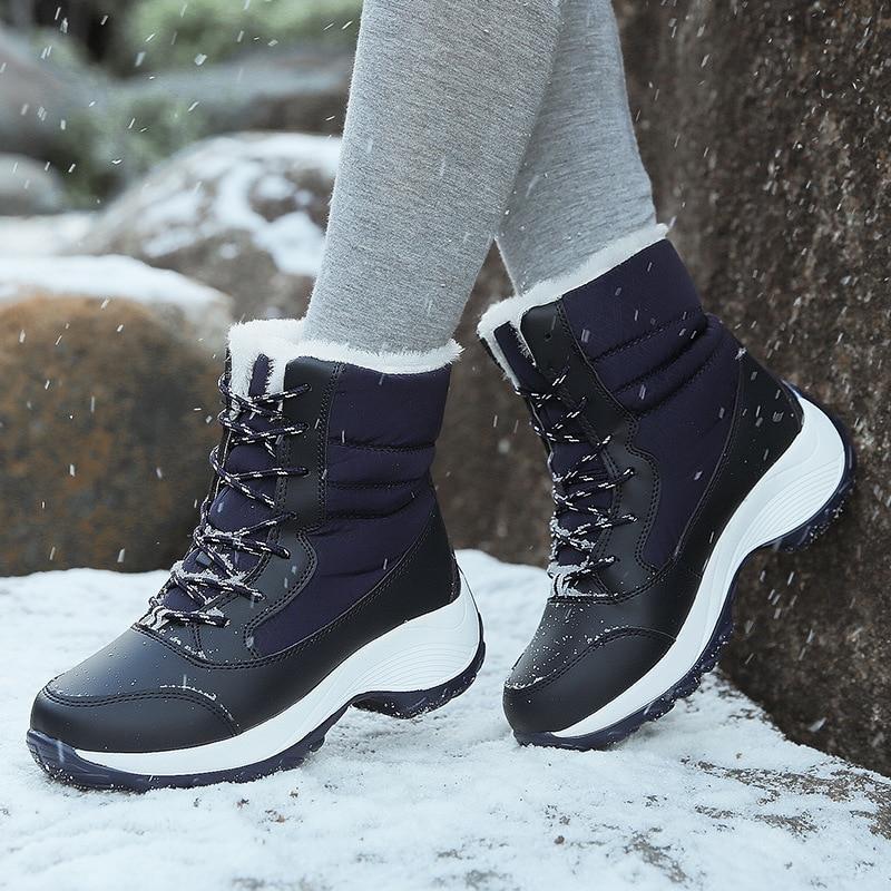 Зимние сапоги на меху; Теплые ботильоны для женщин Зимняя обувь Водонепроницаемый сапоги женские Женская зимняя обувь Botas Mujer