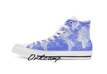 Vintage Map of The World 1833 Blue White Custom Casual High Top lace-up Canvas shoes sneakers Drop shipping(China)