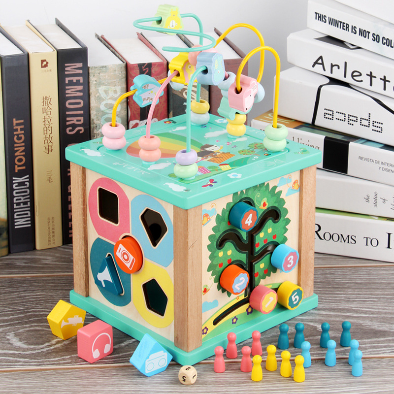 Multi-functional Bead-stringing Toy Wood Treasure Chest Shape Early Childhood Educational Force 1-3-6-Year-Old Infant Child Baby