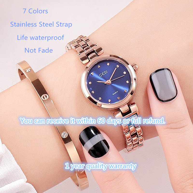 Small Dial Bracelet Wristwatch-f- Women's Watches New Year Gifts Steel Band Rhinestones Blue Purple Womans Watch Christmas Gift