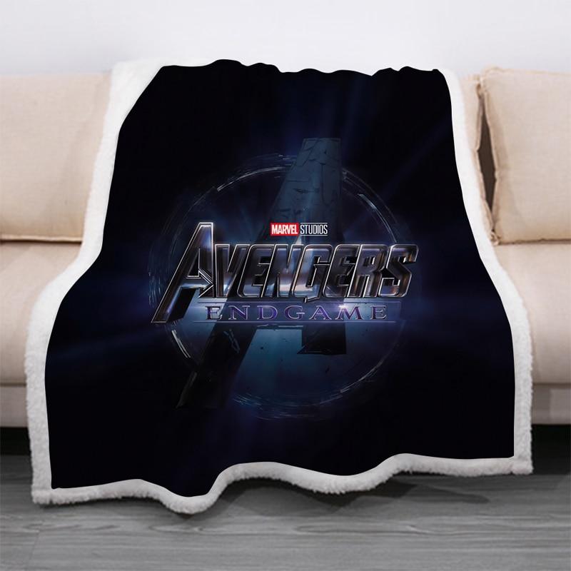 Superhero Avengers 3D Print Sherpa Blanket Sofa Couch Quilt Cover Travel Bedding Velvet Throw Thick Double-layer Fleece Blankets-5
