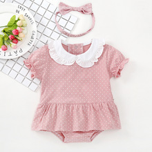 Cute Baby Rompers 2pcs Baby Girls Clothes Jumpsuit Romper+Headband Infant Toddler Newborn Fashion Summer Kids Bebe Outfits Set ruffled flower baby rompers summer newborn baby costumes kids jumpsuit toddler baby girl romper ropa bebe clothes polo outfits