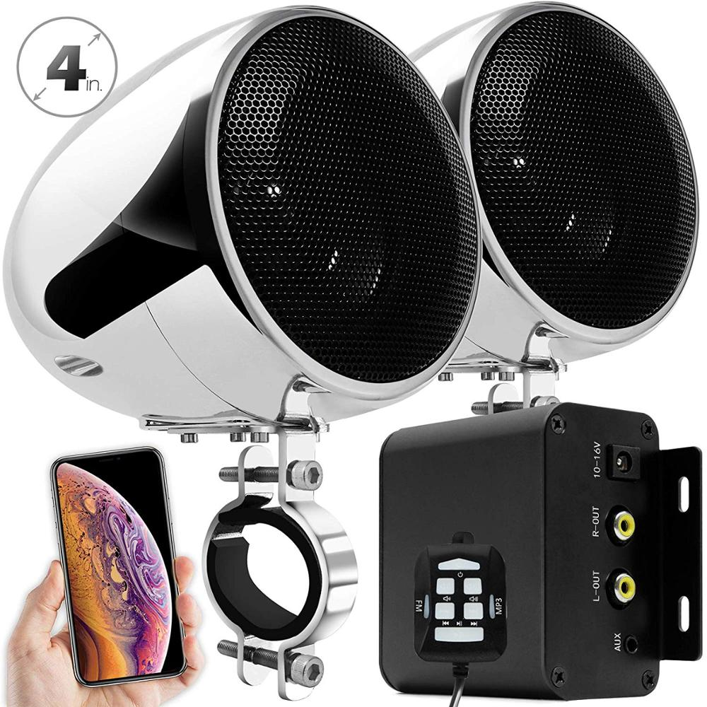 Aileap M150 Motorcycle Audio Set with Stereo 2ch Amplifier 4 Inches Waterproof Speakers Bluetooth FM Radio AUX MP3  Chrome