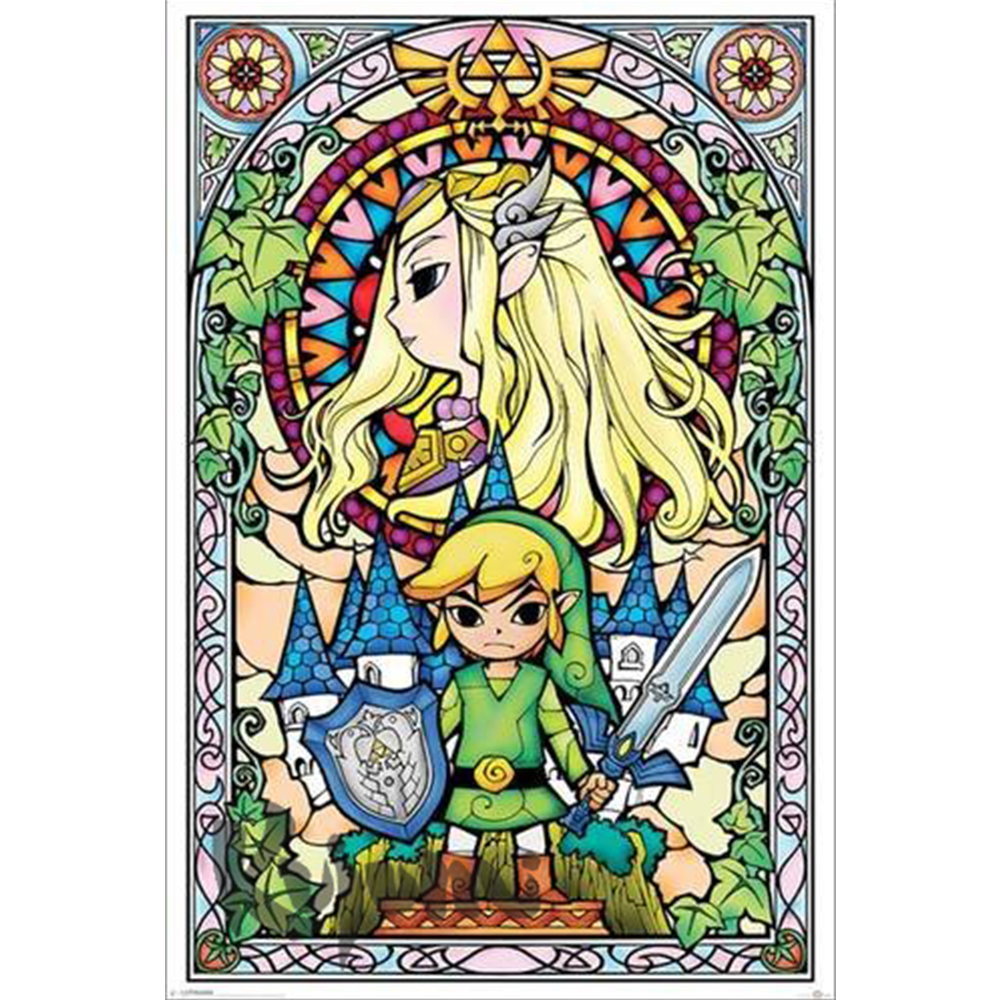 <font><b>Legend</b></font> <font><b>of</b></font> <font><b>zelda</b></font> wind DIY 5D <font><b>Diamond</b></font> <font><b>Painting</b></font> by Number Kits Full Round Drill Rhinestone Embroidery Cross Stitch decoration gift image