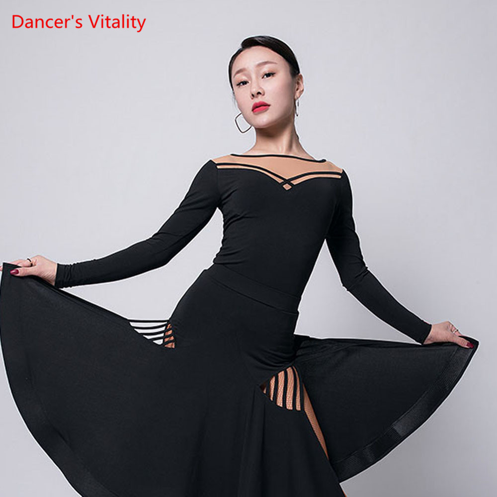 Latin Dance Practice Clothes Female Autumn And Winter Adult Tops Long Sleeves Friendship Dance Costume Training Shirt