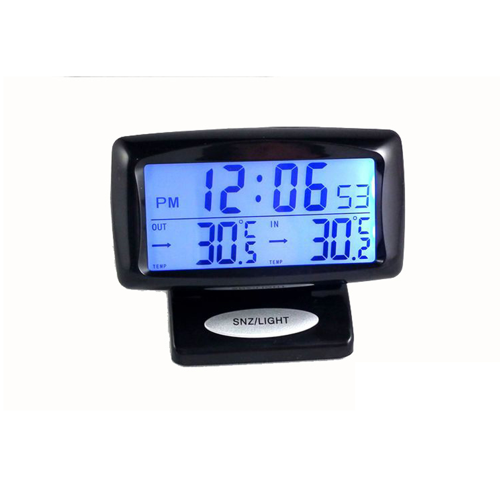 HOT Dual Temperature Measuring <font><b>Tool</b></font> With Backlight 2 In1 <font><b>Car</b></font> Kit <font><b>Electronic</b></font> Clock Thermometer Digital Display Inside & Outside image