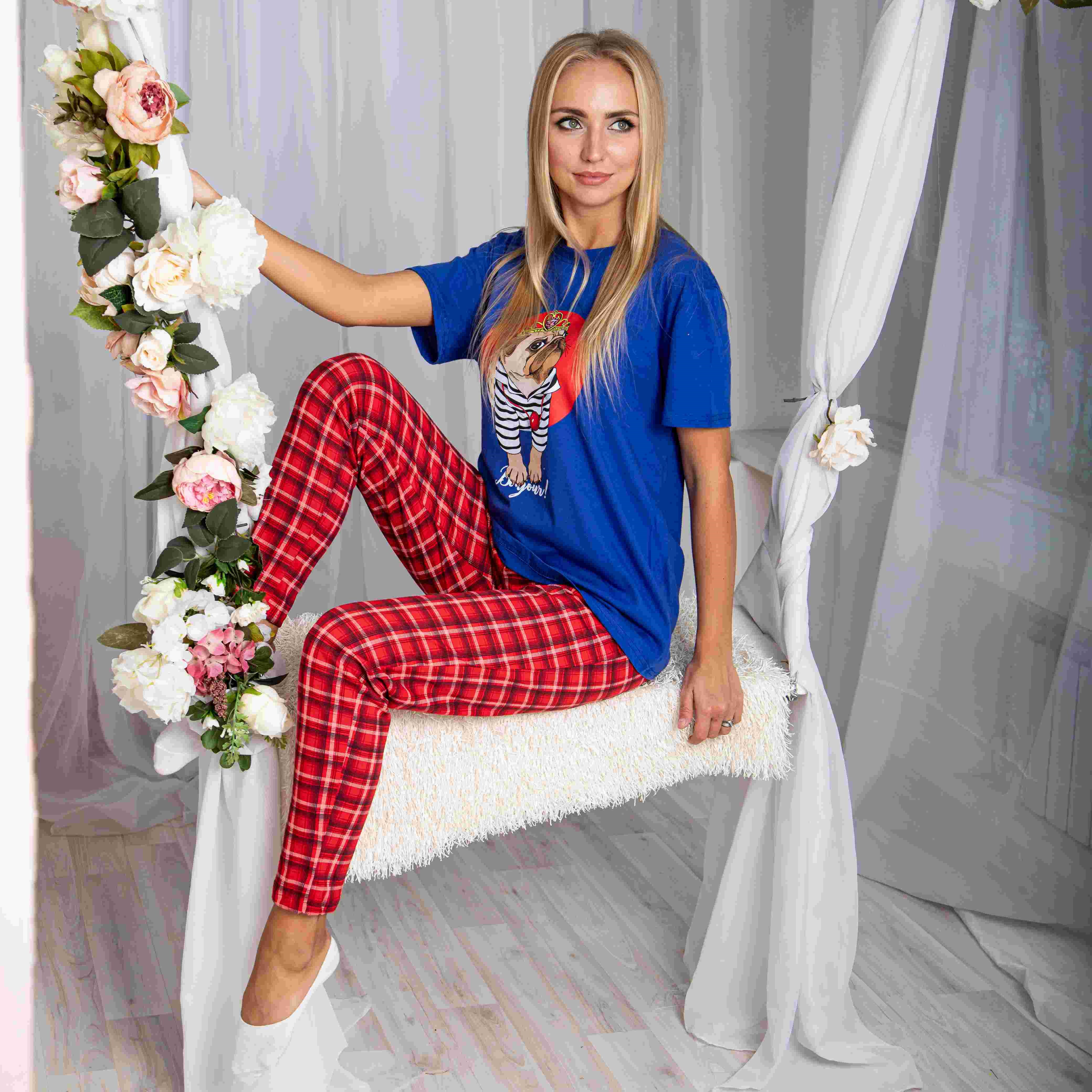 Atoff Home Pajamas For Women ZHP 024/3 (cornflower + Cage On Red)