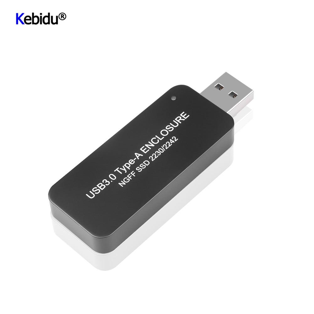 Kebidu USB 3.0 TYPE-A muhafaza NGFF SSD 2230/2242 taşınabilir sabit disk geri çekilebilir harici muhafaza kutusu