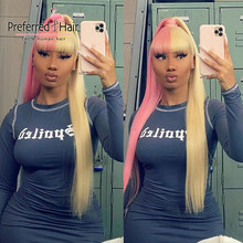 Preferred Full Bangs Half Pink Half Blonde Straight Lace Front Wig Brazilian Remy Platinum Lace Front Human Hair Wigs for Women(China)