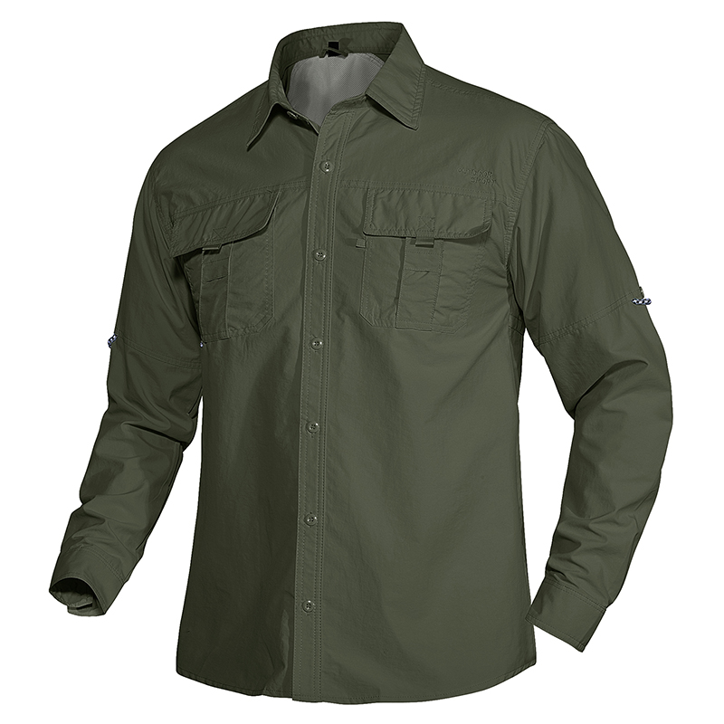 TACVASEN Summer Quick Dry Work Shirts Men Lightweight Military Tactical Shirts Roll Up Multi-Pockets Combat Performance Shirts