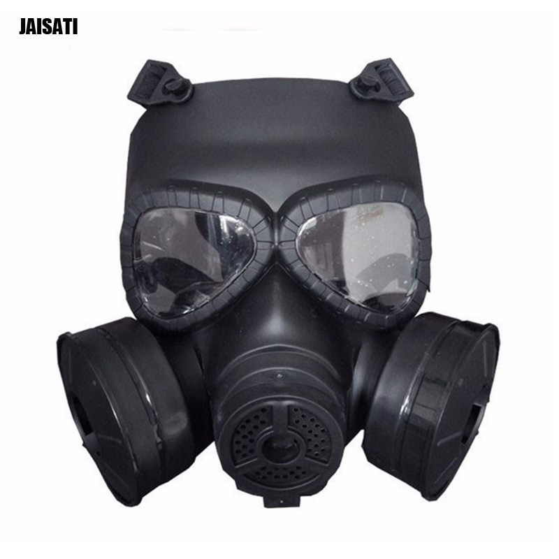 JAISATTI Tactical Head Masks Resin Full Face Fog Fan For CS Airsoft Paintball Dummy Gas Mask with Fan Double Cosplay Protection-in Masks from Security & Protection