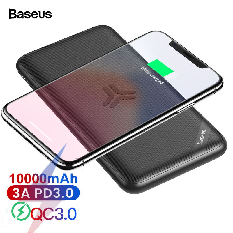 Baseus 10000mAh Qi Wireless Charger Power Bank Quick Charge 3.0 PD Fast Charging 10000 MAh Powerbank For IPhone 11 Pro Max Xiaomi Mi Samsung Note 10 Huawei Mate 30 Portable External Battery Charger Poverbank