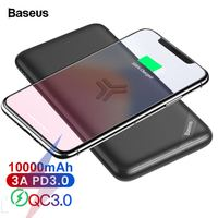 Baseus 10000mAh Qi Wireless Charger Power Bank Quick Charge 3.0 PD Fast Charging Powerbank For iPhone Xiaomi Mi External Battery