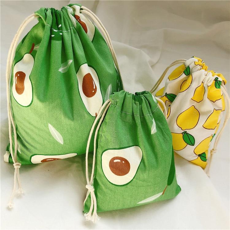 Fashion Portable Women Drawstring Bags Handmade Cotton Linen Ladies Storage Package Bag Avocado Small Travel Cloth Gift Pouch